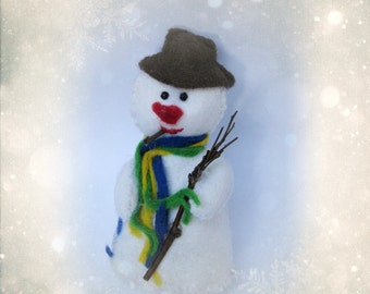 Snowman Ornament - handmade felt doll for Christmas keepsake softie - Hand Made in France