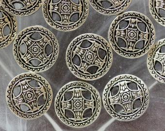 set of 3 silver metal disc beads