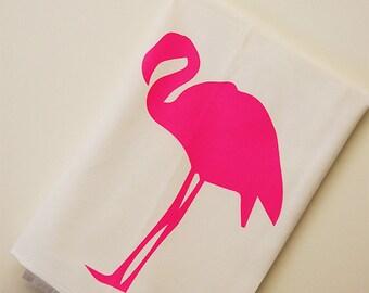 Pink Flamingo Dish Towel, Flamingo Flour Sack Towel, Gift For Cook, Hand Screen Printed