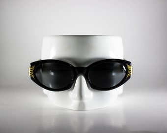 Linea Pitti Mod 493 Col. NR Florence Design Made In Italy CE Unisex Vintage Sunglasses Black Plastic NOS/Deadstock-Free Shipping-LINS79Q-1