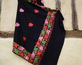 "Gorgeous Black Embroidered Pashmina. 100%  wool shawl, stole. 84 x 40"". Kashmir. 214 x 102 cm"