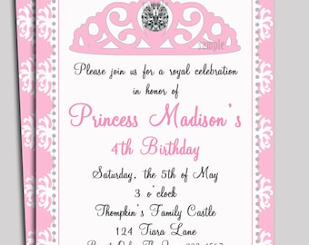 Princess Invitation Printable or Printed with FREE SHIPPING - Diamond Tiara Collection