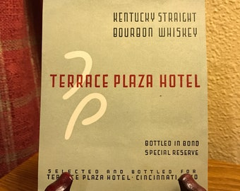 Vintage Terrace Plaza Hotel Kentucky Straight Boubon Whiskey Label