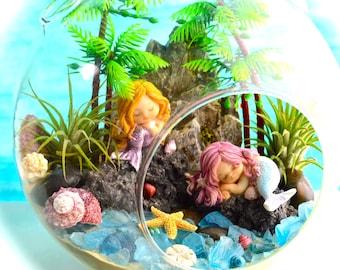 """Mermaid Beach Terrarium Kit ~ 8"""" Air Plant Terrarium Kit ~ Coastal Living Beach Decor ~ 2 Mermaids on a Rock ~ Aloha ~ Mermaid Choice ~ Gift"""