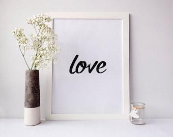 Love Printable Art, printable wall art, love wall art, love print, love poster, digital print, typography, Minimalist, wall art