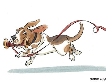 Mischievous basset hound - Blank greeting card featuring watercolor illustration