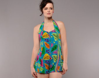 Vintage 80's Rayon Romper // Halter Top with Corset - Tie back // Short Shorts // XS S