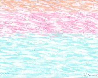 Nursery Decor, Tropical Art, Impressionism, Large Wall Art, Ocean Abstract, Pastels, Girls Room, Pink, Aqua, Beach Decor, Cottage, Shabby