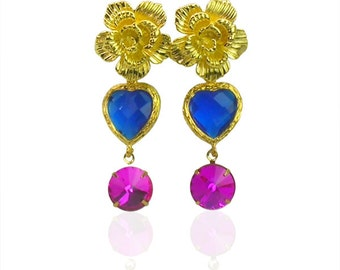 Sapphire blue and magenta crystal earrings, Gold flower drop earrings, Birthstone crystal earrings, Gold fashion jewellery, Gift for her