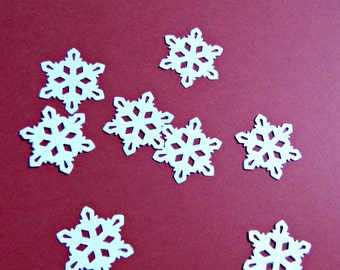 Paper Snowflakes 1.25 inch, hand punched cardstock embellishments, choose amount & color, holiday party decoration confetti accent for gifts