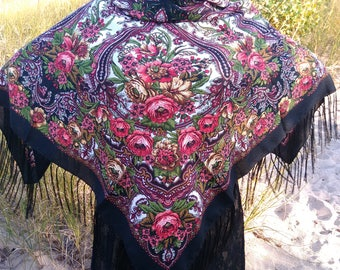 Floral shawl / Slavic shawl / Chale russe / Pashima Boho shawl /  Warm shawl / Present for Mother / Gift /