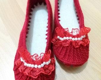 Handmade knitting woman booties