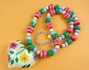 Chunky Floral Resin Heart Necklace - hand painted flowers vintage style large heart pendant & beads retro colors red green blue yellow white