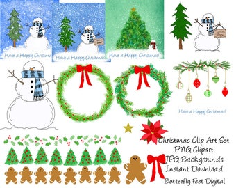 Christmas Clip Art, Snowman, Printable Holiday, Card Making, Scrapbooking, Instant Digital Download,
