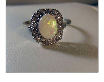 Vintage 14k Australian Opal and Diamond Halo Ring
