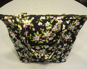 Apple Blossom Quilted Zippered Tote