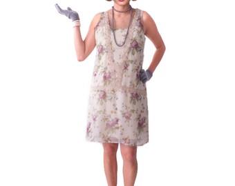 Retro Flapper Dress, Great Gatsby Dress, 1920s Dress,Roaring 20s Dress, Downton Abbey, Floral Flapper Dress,Shift Dress, Bridesmaid,Costume