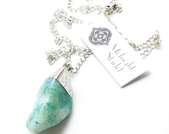 CORAL Turquoise Agate Necklace w/Silver Chain. FAST Shipping w/ Tracking for US Buyers. Will Arrive in Gift Box and Ribbon.