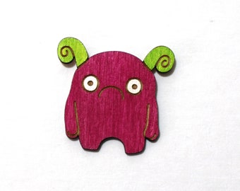 Melp the Timid Monster - Painted Wood Laser-Cut Magnet -