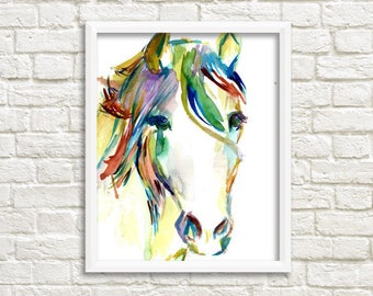 """Horse Watercolor Poster, 16"""" x 20"""" poster print, """"Horsin' Around"""" print, Large Watercolor, Large Poster, Horse Poster, Horse Painting"""