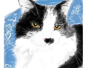 Cat Greeting Card, Blank, Greebo Design No A6009
