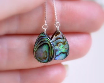 Abalone Threader Earrings, Sterling Silver, Paua Shell, Ear Threads, Box Chain, Dainty Beach Jewelry, Summer, Free Shipping