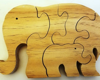 Handmade Distressed 3D Wooden Mommy with Baby Elephant Children's Puzzle