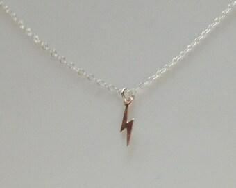 lightening bolt necklace, tiny necklace, minimalist necklace