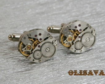 SALE...Watch Movement Cufflinks  ,  Steampunk Cufflinks . Steampunk jewelry . Vintage Clockwork Watch Movement Cuff Links
