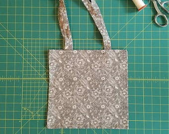 Black and White Floral Print Fat Quarter Tote Bag, Fabric Gift Bag, Small Cotton Tote