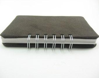 Dark Brown Moleskin Fabric Blank Notebook 4 x 6 spiral bound, sketchbook, prayer journal, spiral bound notebook, travel journal, diary
