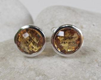 Citrine Stud Earring- Yellow Topaz Earring- Classic Round Earring- November Birthstone Earring-Orange Gemstone Earring-Jewelry Gifts for Her