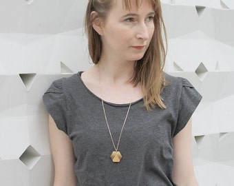 Wood long necklace, geometric jewel, sunset, landscape inspiration, minimalist, minimal collar, brass chain, wooden jewelry, made in France