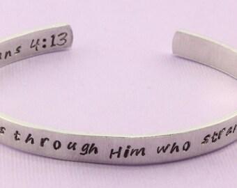 Philippiens 04:13 Bracelet - je peux faire toutes choses par celui qui Me fortifie - Cuff Bracelet - Christian Bracelet - Bracelet religieux