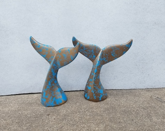 Whale Tail Bookends, Whale Decor, Paperweight, Ocean Decor, Orca Decor, Desk Weight, Paper Weight, Bookends, Whale Tale, Bookshelf Decor