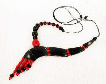 Red Statement Necklace - Unique Necklace - Tribal Jewelry - Gift Ideas for Women - Eco Fashion - Chunky Necklace for Women