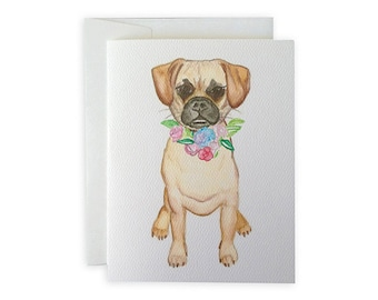 Puggle Boy or Girl Greeting Card or Notecard Set