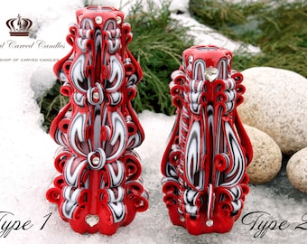 Set of candles - Large Candle - Carved Candle - Christmas candle - Candle Gift - Big Cnadle - Red Candle