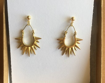 Small Brass Sunburst Earrings