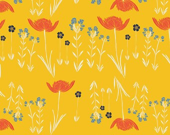Red Ranunculus Fabric - Meadow by Leah Duncan for Art Gallery Fabrics - Savanna Glow Golden - Fabric By the Half Yard