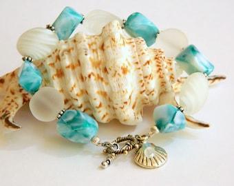 Bracelets for Women Beaded Bracelet Gift for Women Silver Bracelet Gift for Her Blue Bracelet Simple Bracelet Beach Bracelet for a Gift