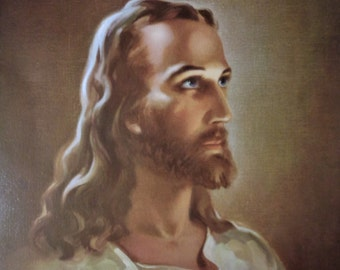 HEAD OF CHRIST by Warner Sallman, 1940 Vintage Lithograph Print