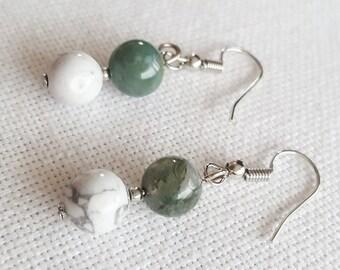 White and Green Beaded Drop Earrings, Handmade Gift, Ladies Accessory, Elegant Classy Jewellery, Boho Style, Howlite and Agate Gemstone