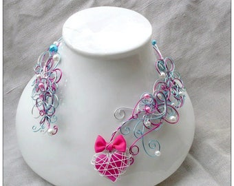 wedding necklace Fuchsia pink and blue