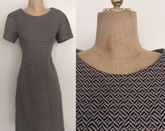 1970's Polyester Geo Print Knit Shift Dress Size Small Medium by Maeberry Vintage