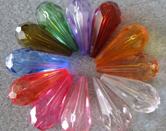 Transparent Faceted Tear Drop Bead  Lucite Acrylic Choose Your Colors Mix 24mm x11mm 831