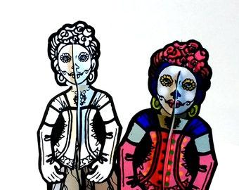 La Calavera Catrina Sugar Skull Monster Paper Doll Set - Printable Toy