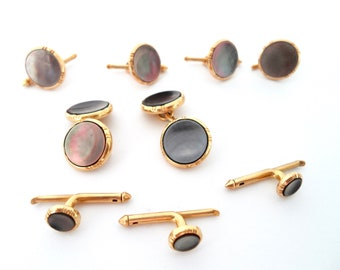 14Kt Gold and Dark Mother Of Pearl Men's Tuxedo Dress CuffLinks and Shirt Stud Set by Larter & Sons 1925 Abalone and Gold CuffLink Set