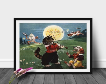 Nursey Art Print , Nursery Decor, Baby's Room Art,  The Cow Jumped Over The Moon #11  (Set One)  FREE SHIPPING