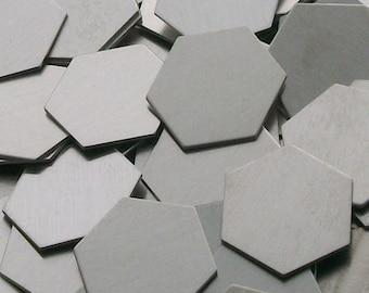 Aluminum Hexagons - 14 ga, stamping blanks, metal blanks, hand stamping blanks, food safe blanks, hypo-allergenic blanks
